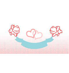 cupid and ribbon little angel vector image