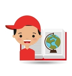 Cute boy book open globe vector