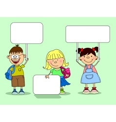 Cute Students Holding Signs vector image