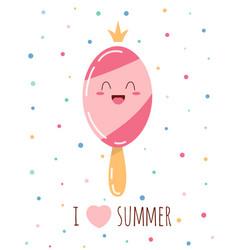 Cute sweet pink ice cream vector