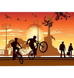 Cyclists perform tricks vector
