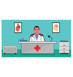 doctor at desk vector image
