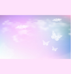 fantasy dreaming sky with low poly butterflies in vector image