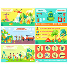 fighting with fire in forest and rules collage vector image