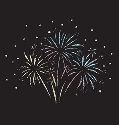 firework glitter foil on black vector image