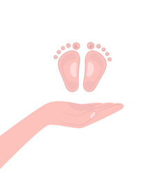 Flat hand and little foot vector
