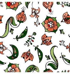 Floral and pea-coal hand drawn seamless pattern vector