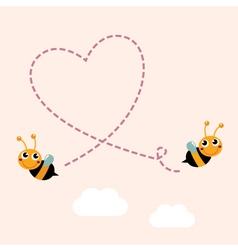 Flying bees making big love heart in the air vector image