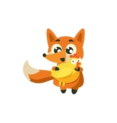 Fox Holding Chicken vector image