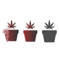 Fragmented pixelated halftone cannabis pot icon vector