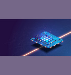 futuristic microchip processor with lights vector image