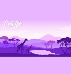 Giraffe with children goes to watering vector