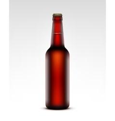 Glass Transparent Brown Bottle of Dark Red Beer vector image
