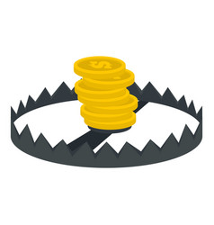Gold coins trap icon flat style vector