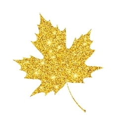 Golden glitter textured fall leaf Autumn gold vector image