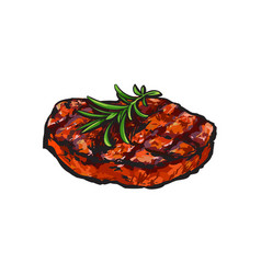 Grilled beef steak beefsteak with rosemary vector