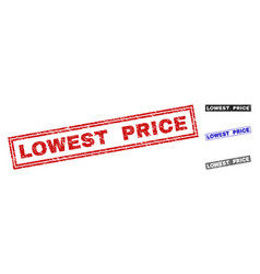 Grunge lowest price textured rectangle stamp seals vector