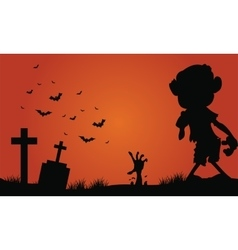 Halloween zombie and bat of silhouette vector image vector image
