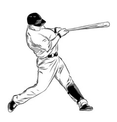 hand drawn sketch of baseball batter in black vector image