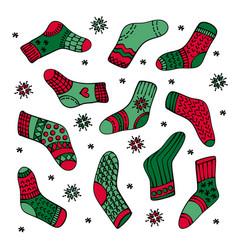 handrawn socks set colorful vector image