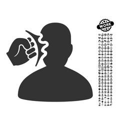 Head strike icon with men bonus vector