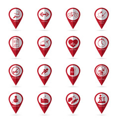 healthy lifestyle icons with location icon vector image