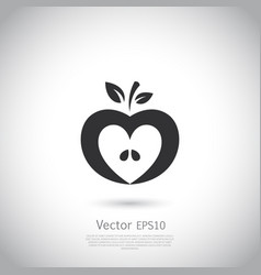 Heart shaped apple logo label icon vector