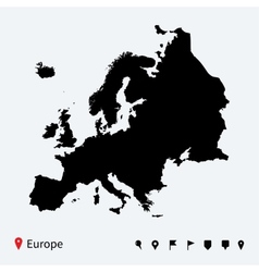 high detailed map europe with navigation pins vector image