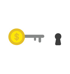 icon concept of dollar coin key with keyhole vector image