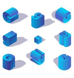 isometric alphabet font element english letter g vector image