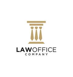Law pillar with tie logo design vector