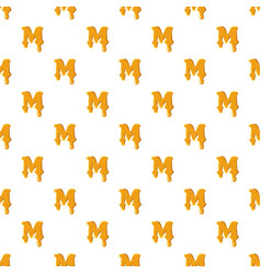 Letter m from honey pattern vector
