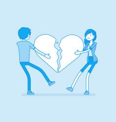 lovers broken heart vector image