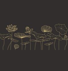 Luxury golden lotus hand drawn background vector