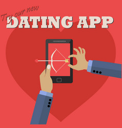 man using dating app on mobile to shoot a love vector image