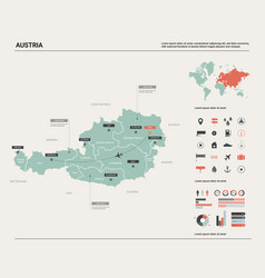 map of austria high detailed map with division vector image