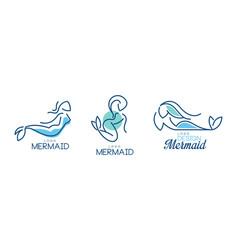 Mermaid logo design with aquatic creature having vector