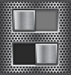 on and off square slider buttons metal switch vector image
