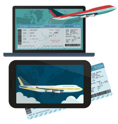online ordering and booking of air tickets vector image