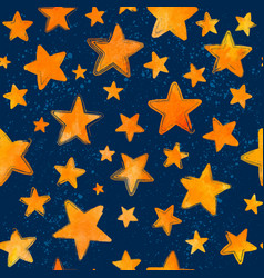 orange watercolor painted stars on blue background vector image