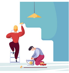 painting wall service handyman workers home vector image