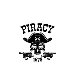 pirate skull in hat icon for piracy flag vector image
