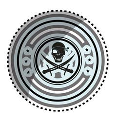Pirate skull symbol icon vector