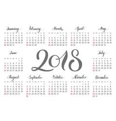 pocket calendar 2018 handdrawn lettering vector image