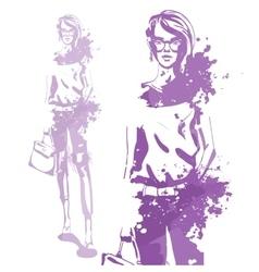 Portrait of trendy look girl vector
