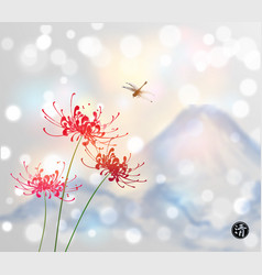 Red chrysanthemum flowers dragonfly and blue vector