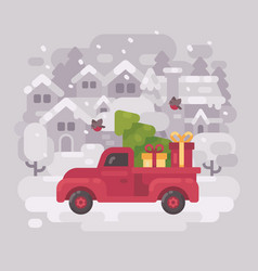 Red farm truck with a christmas tree and presents vector