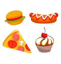 Restaurant fastfood burger and cake meal vector