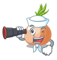 Sailor with binocular fresh onion isolated on the vector