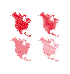 scribble north america map vector image